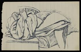 sketch of a still life with bundled material spread over a table
