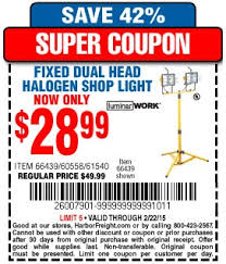 Halogen Shop Light Harbor Freight Tools Coupon Database Free Coupons 25 Percent
