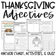 thanksgiving adjectives activities anchor chart quiz by the