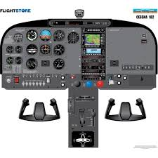 182 aircraft cockpit poster