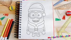 how to draw a minion santa claus easy step by step drawing