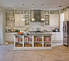 ivory polished wooden kitchen cabinet combined with white exposed