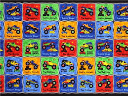 patchwork cheater car fabric boys monster truck madness