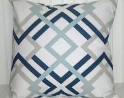 Navy Blue Decorative Pillows Navy Aqua Pillows Etsy