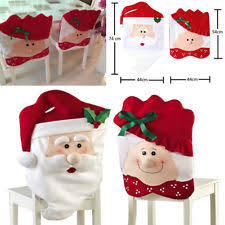 Christmas Chair Back Covers Santa Claus Fabric Christmas Table Chair Covers Ebay