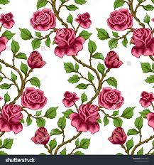 seamless floral pattern wallpaper pink roses stock vector