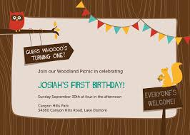 graphic design birthday invitations josiah u0027s first birthday woodland creatures invitation u2013 sam allen