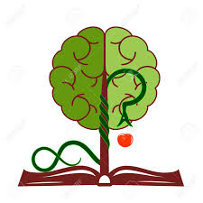 tree of knowledge with foliage in the form of a brain growing