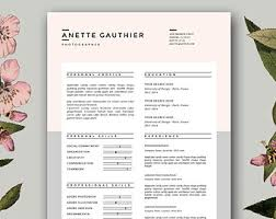 Fashion Resume Template Stylish Resume Templates For Ms Word And By Botanicapaperieshop