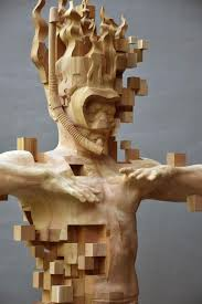 glitch wood carving pixelated snorkeler by hsu tung han enter
