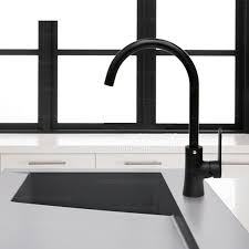 simple painting goose neck shaped black faucet kitchen