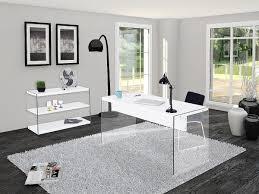 bureau design laqué blanc colorado bureau pieds en verre trempé avec plateau laqué blanc