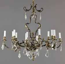1930s Chandelier by French Rococo Bronze U0026 Crystal Chandelier C1930 Vintage Antique