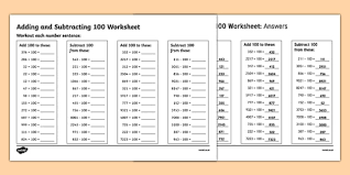 adding and subtracting 100 worksheet addition and subtraction