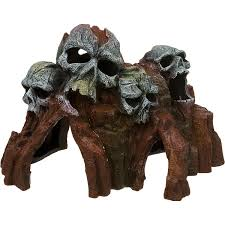 blue ribbon skull mountain medium aquarium ornament petco