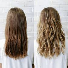 before and after of a sun kissed balayage low