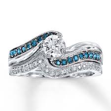 blue diamond wedding rings jared blue diamond bridal set 5 8 ct tw cut 14k white gold