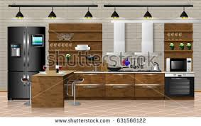 kitchen tools kitchenware shelf on wooden stock vector 402375046