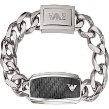 armani bracelet silver images Egs1688040 emporio armani mens carbon fiber silver steel id bracelet jpg