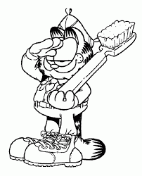 garfield coloring pages garfield holding a fork and knife