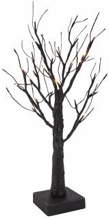 18 inch black glittered pre lit twig tree with micro led bulb
