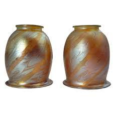 antique pair of austrian loetz iridescent feather swirl glass lamp