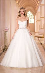 gown illusion bateau neckline tulle lace corset wedding dress with