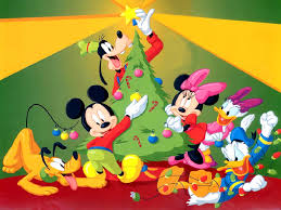 disney mickey mouse with santa claus christmas wallpaper
