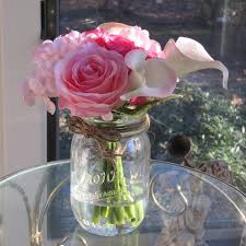 Silk Flower Wedding Centerpieces by Beautiful Rose And Calla Lily Arrangement In Mason Jar With Faux
