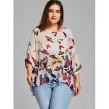 plus size blouse white one size chiffon butterfly print plus size blouse rosegal com