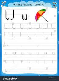 writing practice letter u printable worksheet stock vector