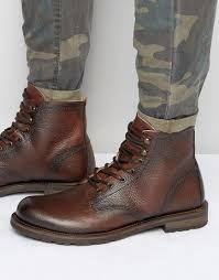 brown motorcycle boots for men shoe the bear worker leather lace up boots in brown for men lyst