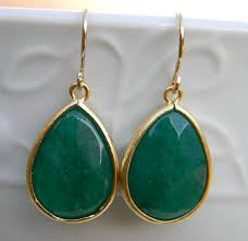 emerald green earrings emerald green earrings trimmed in gold dangle earrings drop