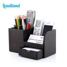 Desk Organizer Box Organizer For Desk Wooden Leather Multi Functional Desk Stationery