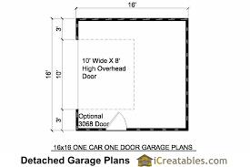 detached garage floor plans 16x16 garage plans 1 car 1 door detached garage plans