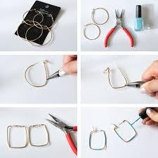 earrings diy 3 minute earring diy hoops to squares
