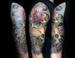 skull and flower half sleeve tattoos best flowers and rose 2017