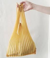 eco bag pleated eco bag small mustard uguisu online store