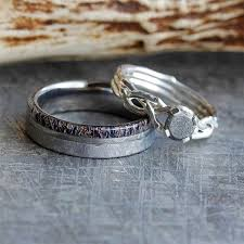 silver engagement ring gold wedding band meteorite wedding ring set with diamond ring and antler ring
