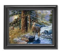 amazon com buck deer and doe by lake cabin lodge wall picture amazon com buck deer and doe by lake cabin lodge wall picture framed art print wildlife decor posters prints