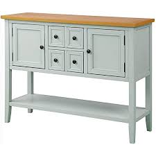 antique white kitchen storage cabinet knocbel retro wood console table buffet sideboard with 4 storage drawers 2 cabinets bottom shelf for home kitchen dining room 46 l x 15 w x 34