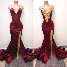 elegant dark red evening dresses mermaid split front party