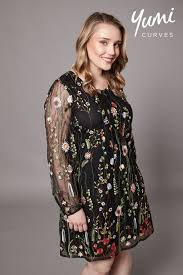 yumi curves sheer floral embroidered dress