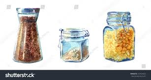 set kitchen jars painted watercolour stock illustration 313424225