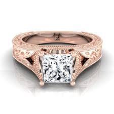 antique rose rings images Princess cut vintage inspired engraved engagement ring in 14k rose jpg
