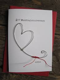 2nd wedding anniversary 2nd wedding anniversary keepsake card cotton wire heart 2 years