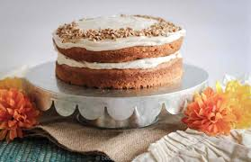 pumpkin spice cake with maple cinnamon cream cheese frosting