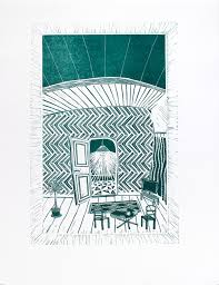 Living Room Architecture Drawing Limited Prints Linocuts Architectural Figurative Blue Dark