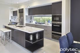 sheen kitchen design polytec melamine black wenge matt and marina grey sheen kitchen