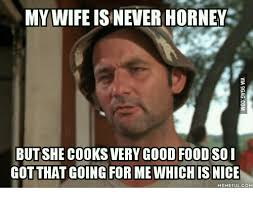 Horney Meme - my wife is never horney but she cooks very good foodso i got that